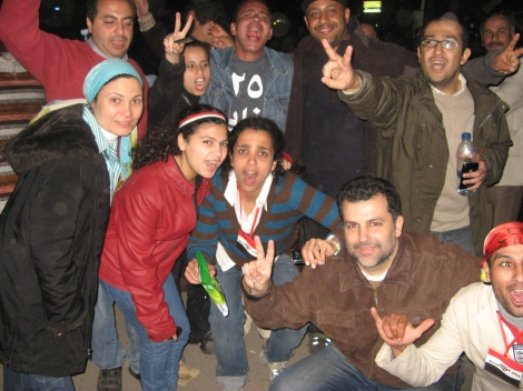 Celebrating in Tahrir, the night of Mubarak's fall. Photo: Atef Said