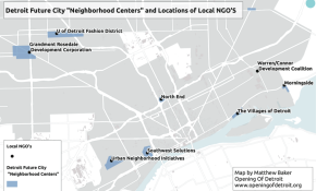"Detroit Future City ""neighborhood centers"" and locations of local NGOs"